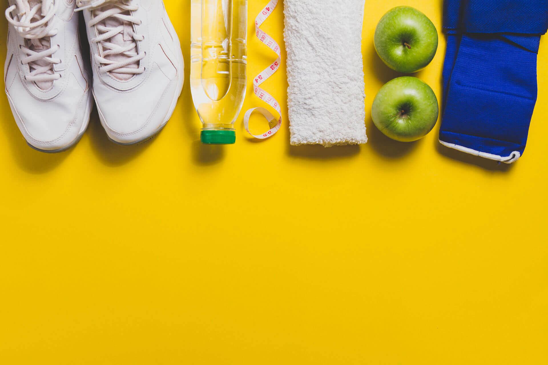 sneakers bottle apples towel